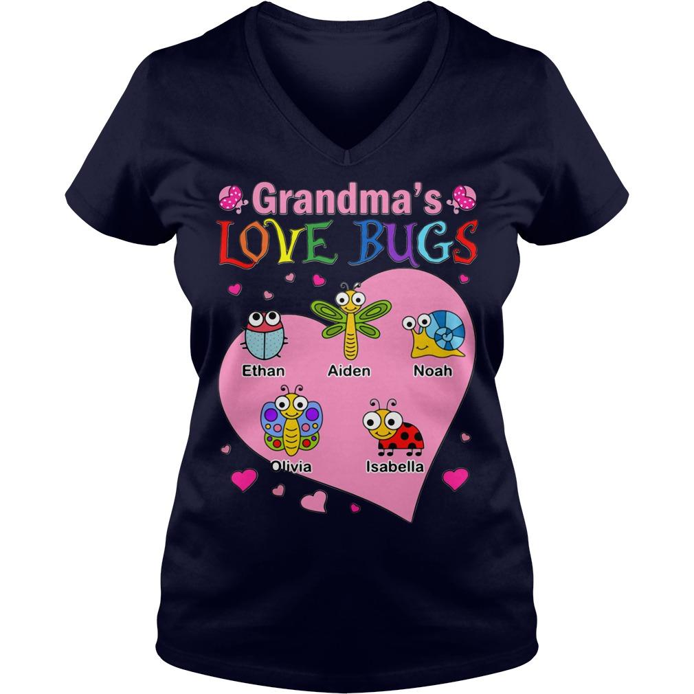 Grandma's Love Bugs V-neck T-shirt
