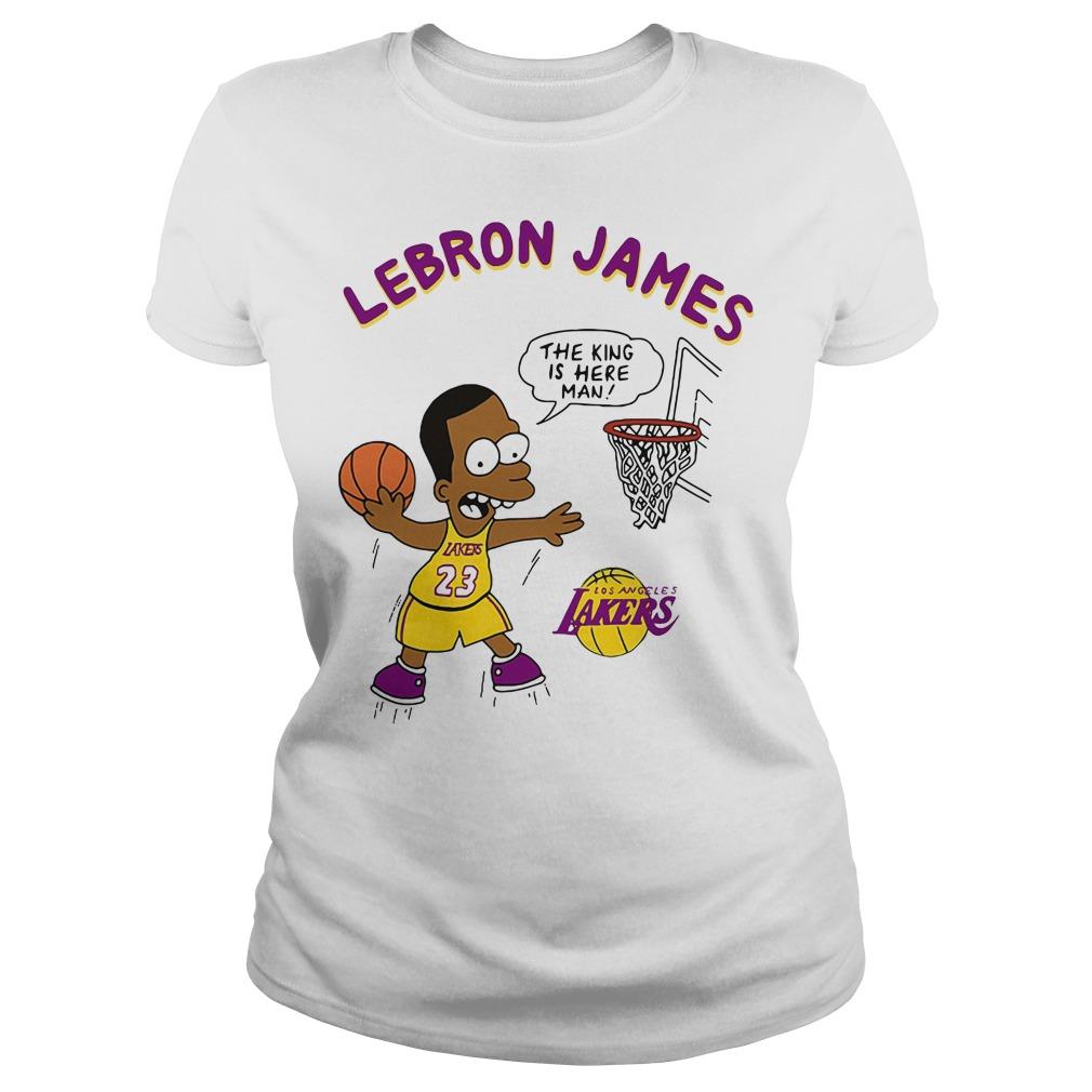Lebron James The King Is Here Man Los Angeles Lakers Ladies Tee
