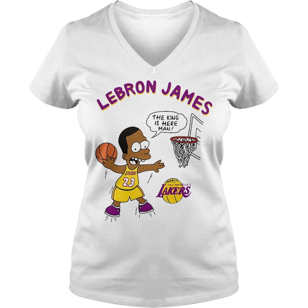 Lebron James The King Is Here Man Los Angeles Lakers V-neck T-shirt