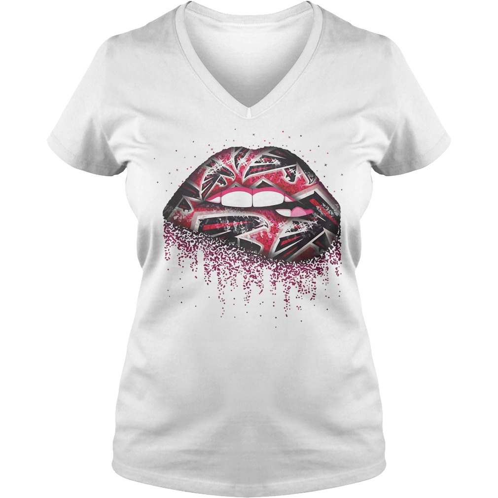 Atlanta Falcons Lips V-neck T-shirt
