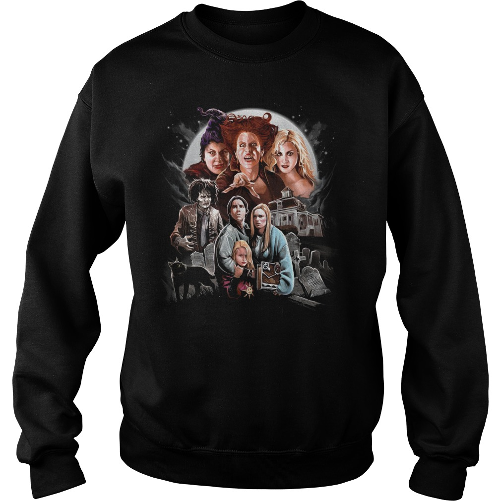 Halloween Hocus Pocus Three Witch Black Cat Horrible House Sweater