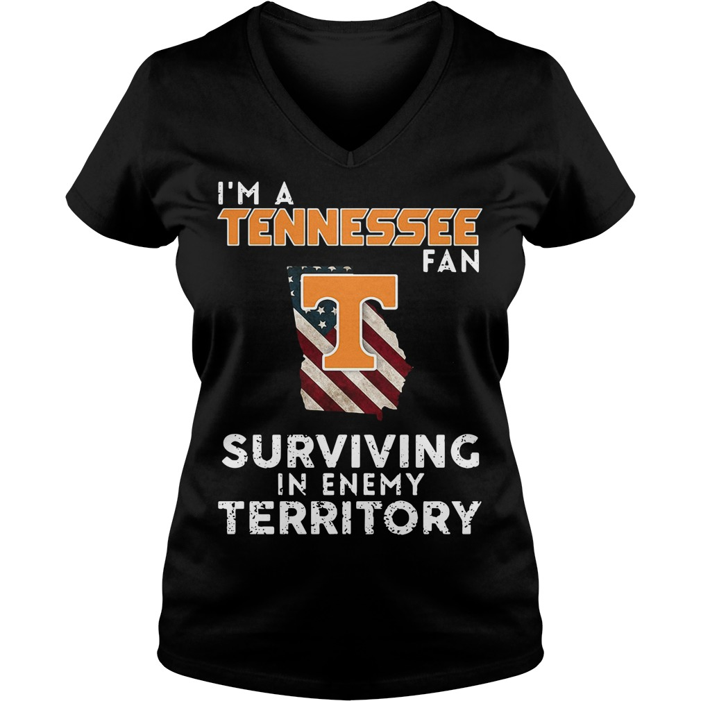 I'm A Tennessee Georgia Fan Surviving In Enemy Territory V-neck T-shirt