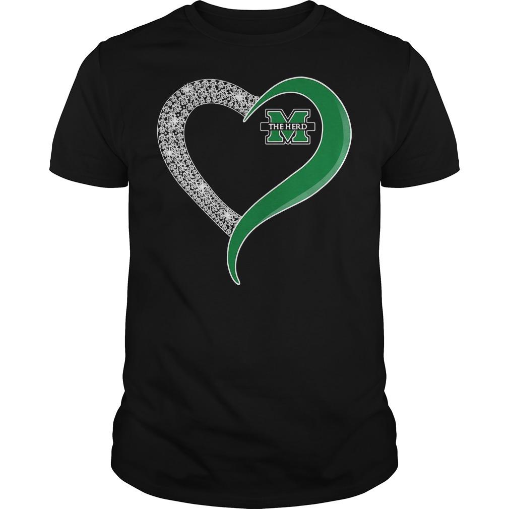 Diamond Marshall Thundering Herd Heart Guys Shirt