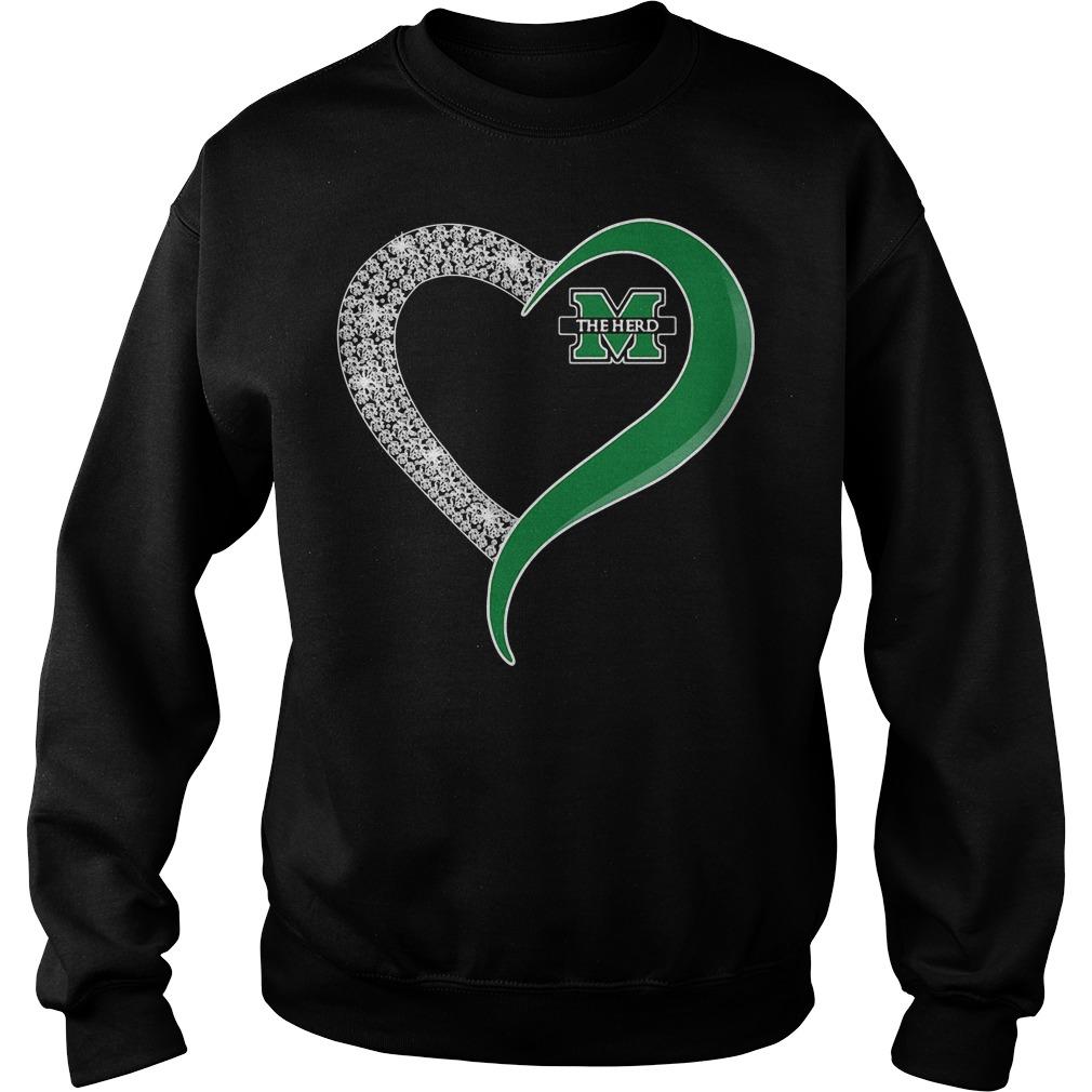 Diamond Marshall Thundering Herd Heart Sweater