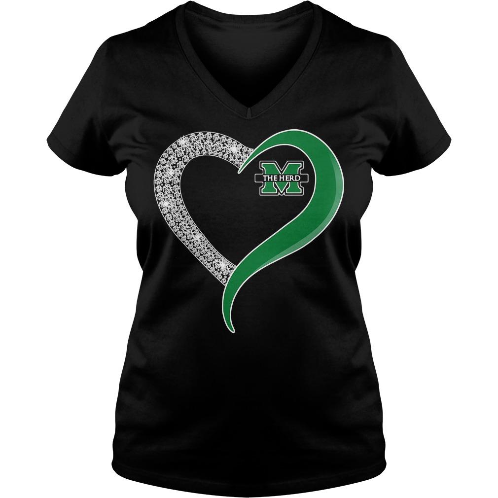 Diamond Marshall Thundering Herd Heart V-neck T-shirt