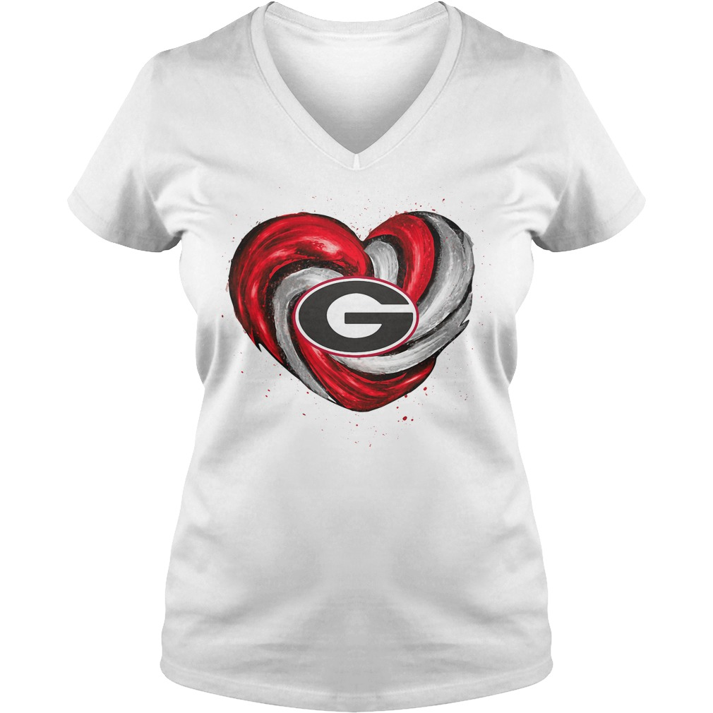 Hurricane Georgia Bulldogs Love V-neck T-shirt