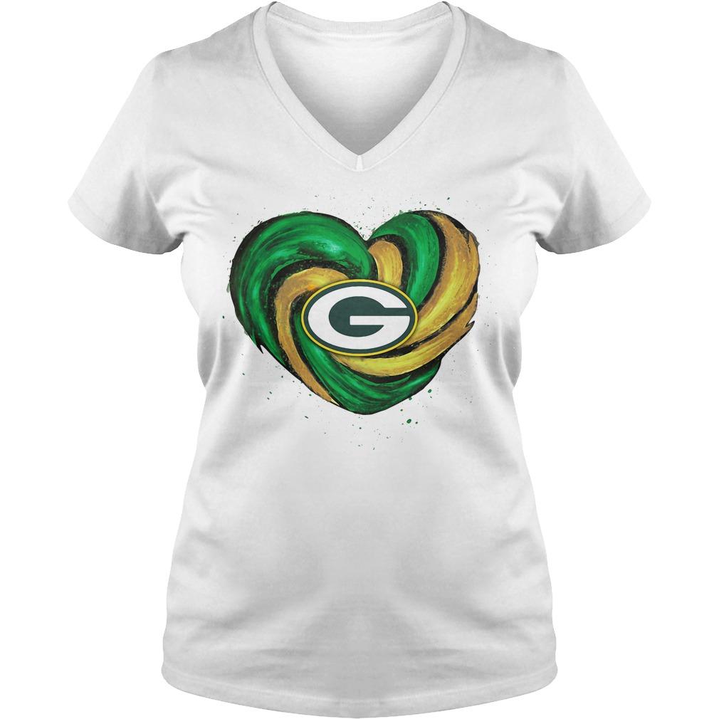 Hurricane Green Bay Packers Love V-neck T-shirt