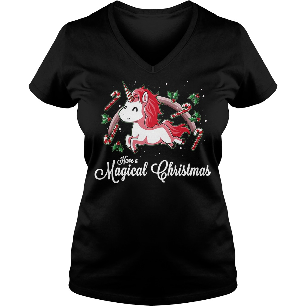 Unicorn Have A Magical Christmas V-neck T-shirt