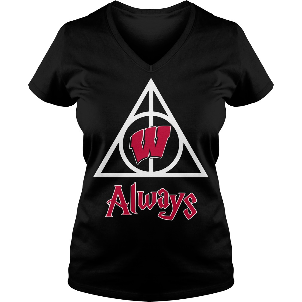 Wisconsin Badgers Deathly Hallows Always Harry Potter V-neck T-shirt