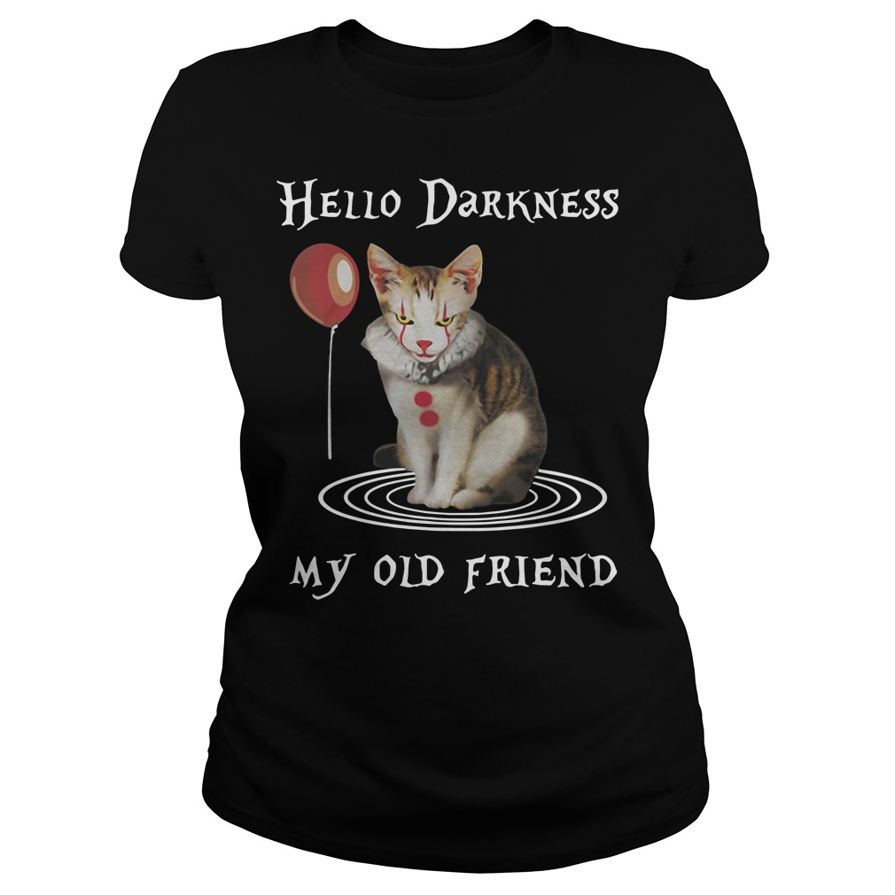 Halloween Clown Cat Hello Darkness My Old Friend Ladies tee