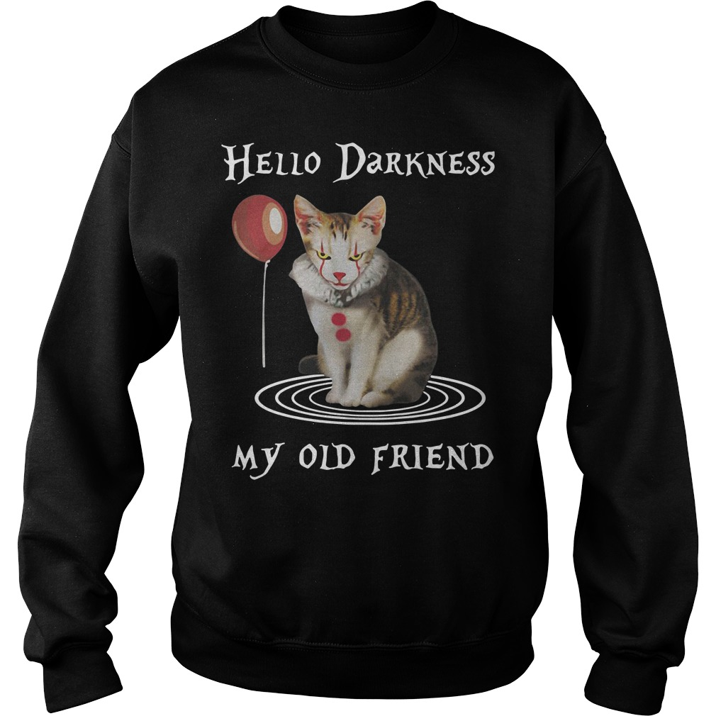 Halloween Clown Cat Hello Darkness My Old Friend Sweater