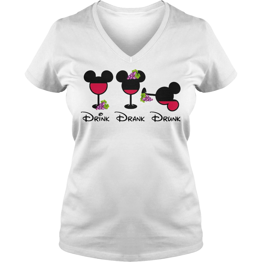 Mickey Glass Grapes Drink Drank Drunk V-neck T-shirt