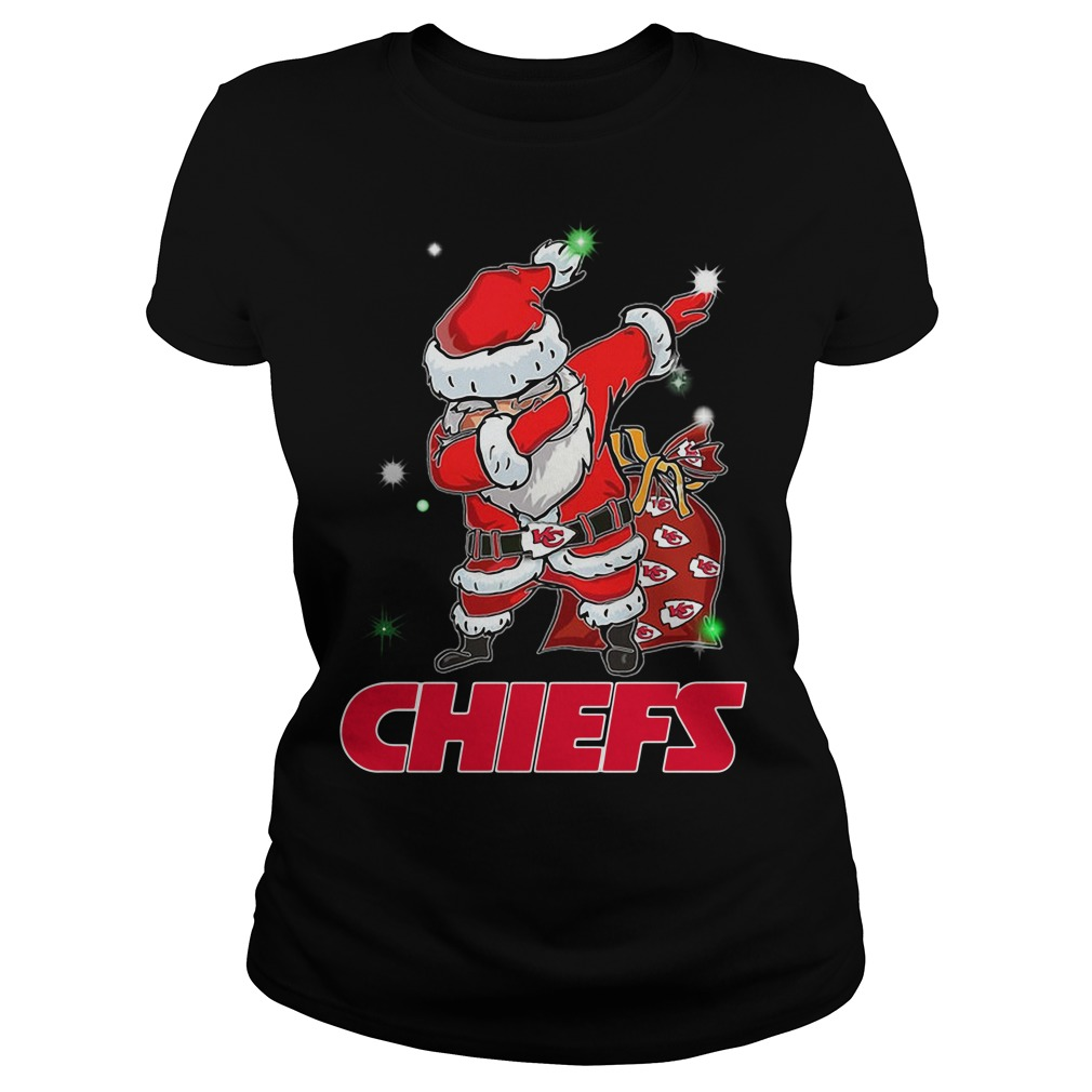 Santa Kansas City Chiefs Dabbing Christmas Ugly Ladies Tee