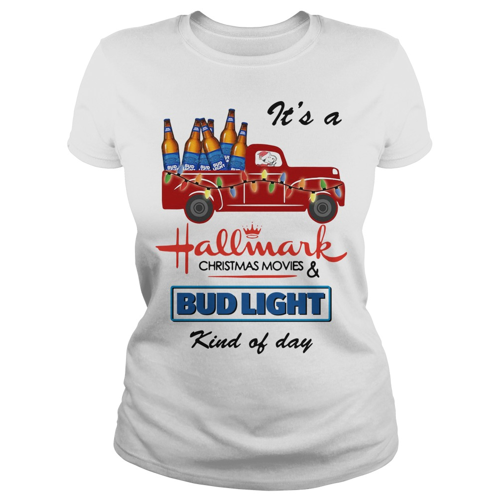 Snoopy It's A Hallmark Christmas Movies Bud Light Kind Of Day Ladies Tee
