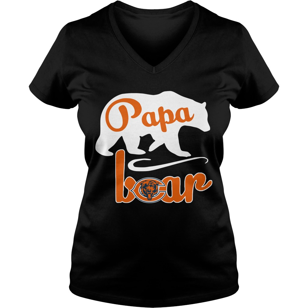 Chicago Bear Papa Bear V-neck T-shirt