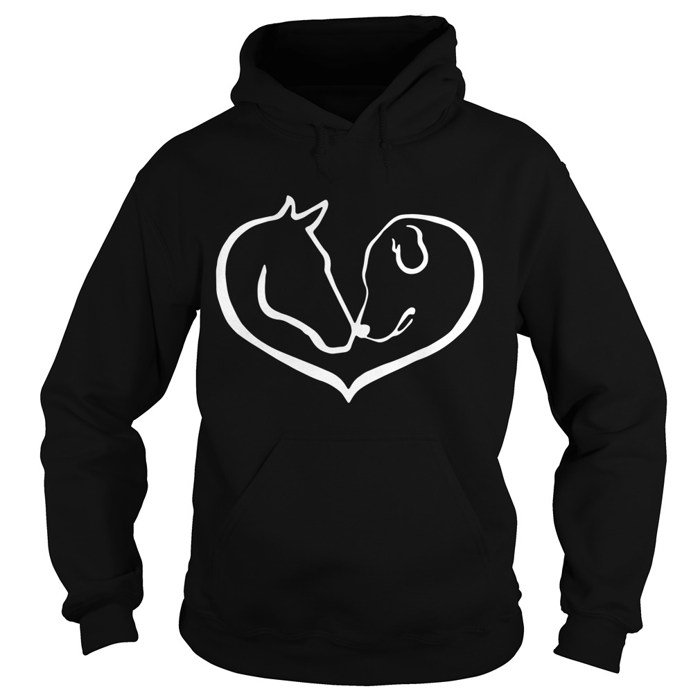 Horse And Dog Shape Of Heart Hoodie