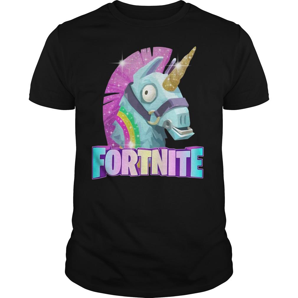 Rainbow Llama Unicorn Fortnite Christmas Ugly Guys Shirt