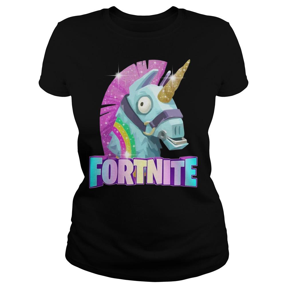 Rainbow Llama Unicorn Fortnite Christmas Ugly Ladies Tee