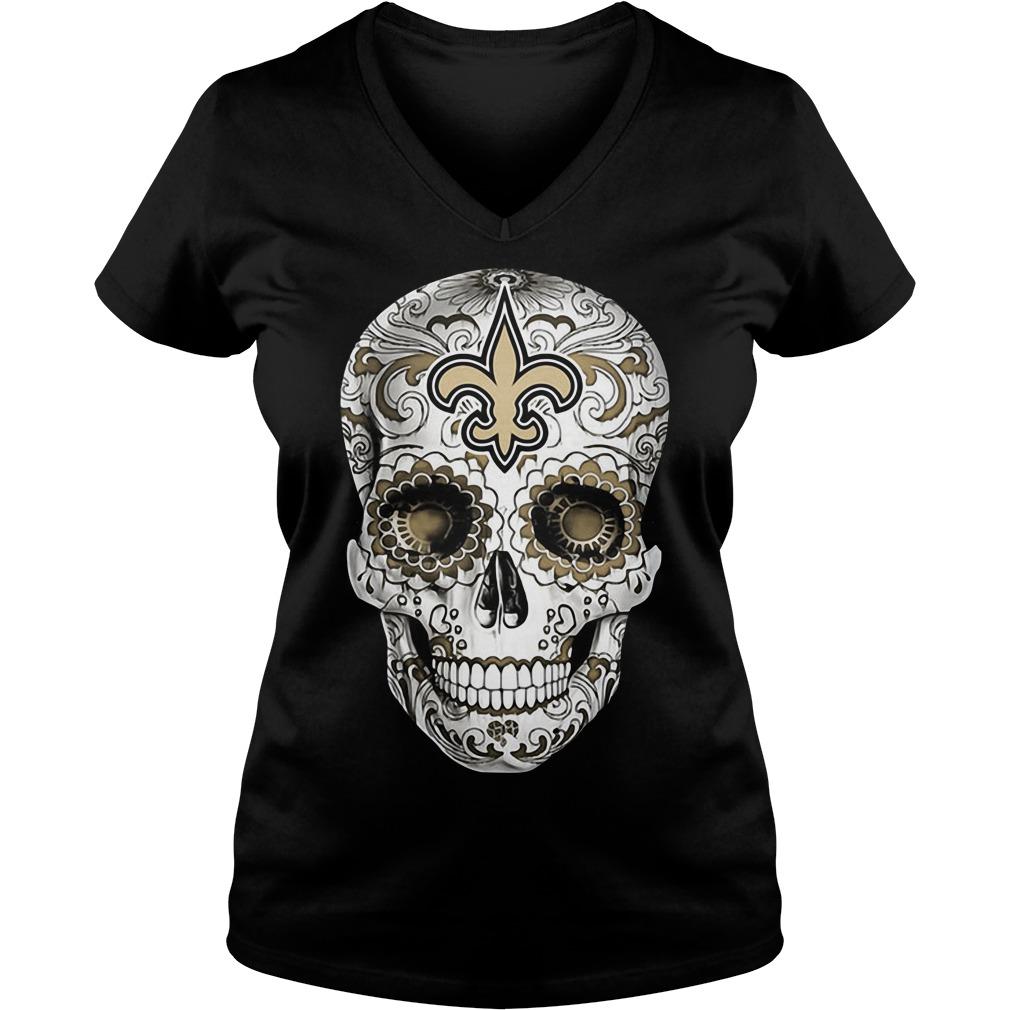 Skull New Orleans Saints V-neck T-shirt