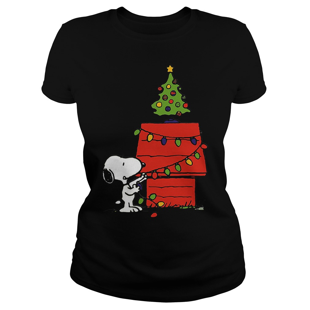 Snoopy House Lights Tree Christmas Ugly Ladies Tee