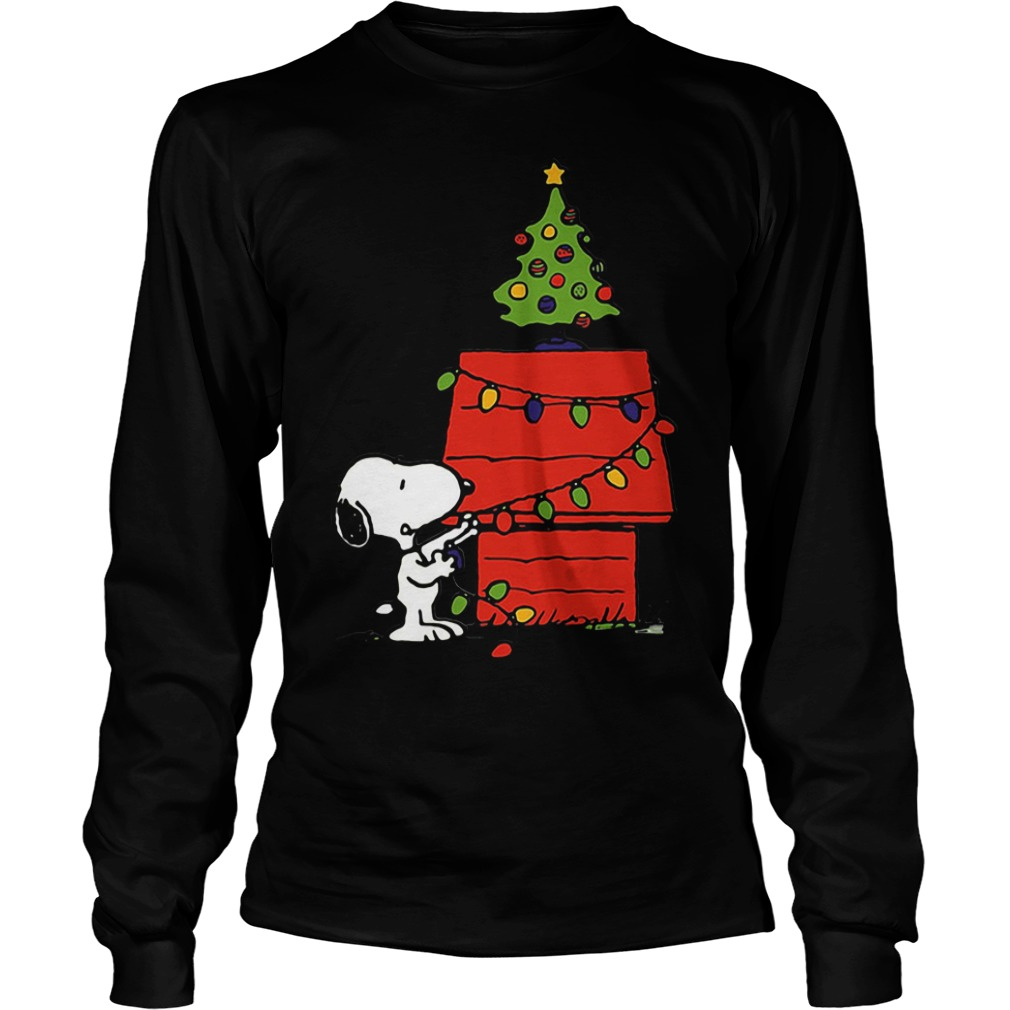 Snoopy House Lights Tree Christmas Ugly Longsleeve tee