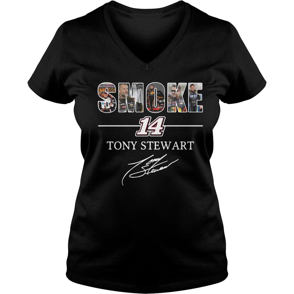 Smoke 14 Tony Stewart V-neck t-shirt