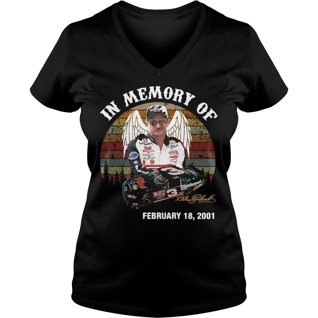 Dale Earnhardt In Memory Of February 18 2001 Vintage V-neck T-shirt