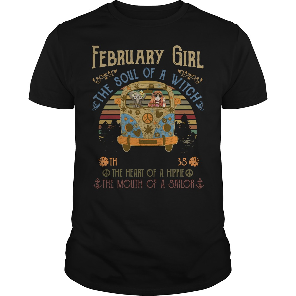 February Girl The Soul Of A Witch The Fire Of A Lioness The Heart Vintage Guys Shirt