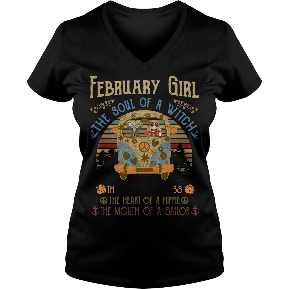 February Girl The Soul Of A Witch The Fire Of A Lioness The Heart Vintage V-neck T-shirt