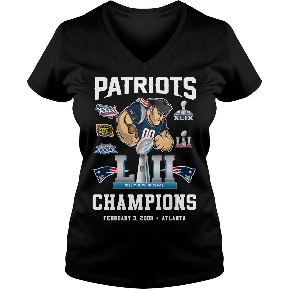 Patriots Liii Champions February 3 2009 Atlanta V-neck T-shirt
