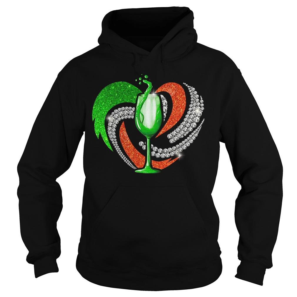 St. Patrick's Day Shamrock Irish Love Wine Heart Bling Hoodie
