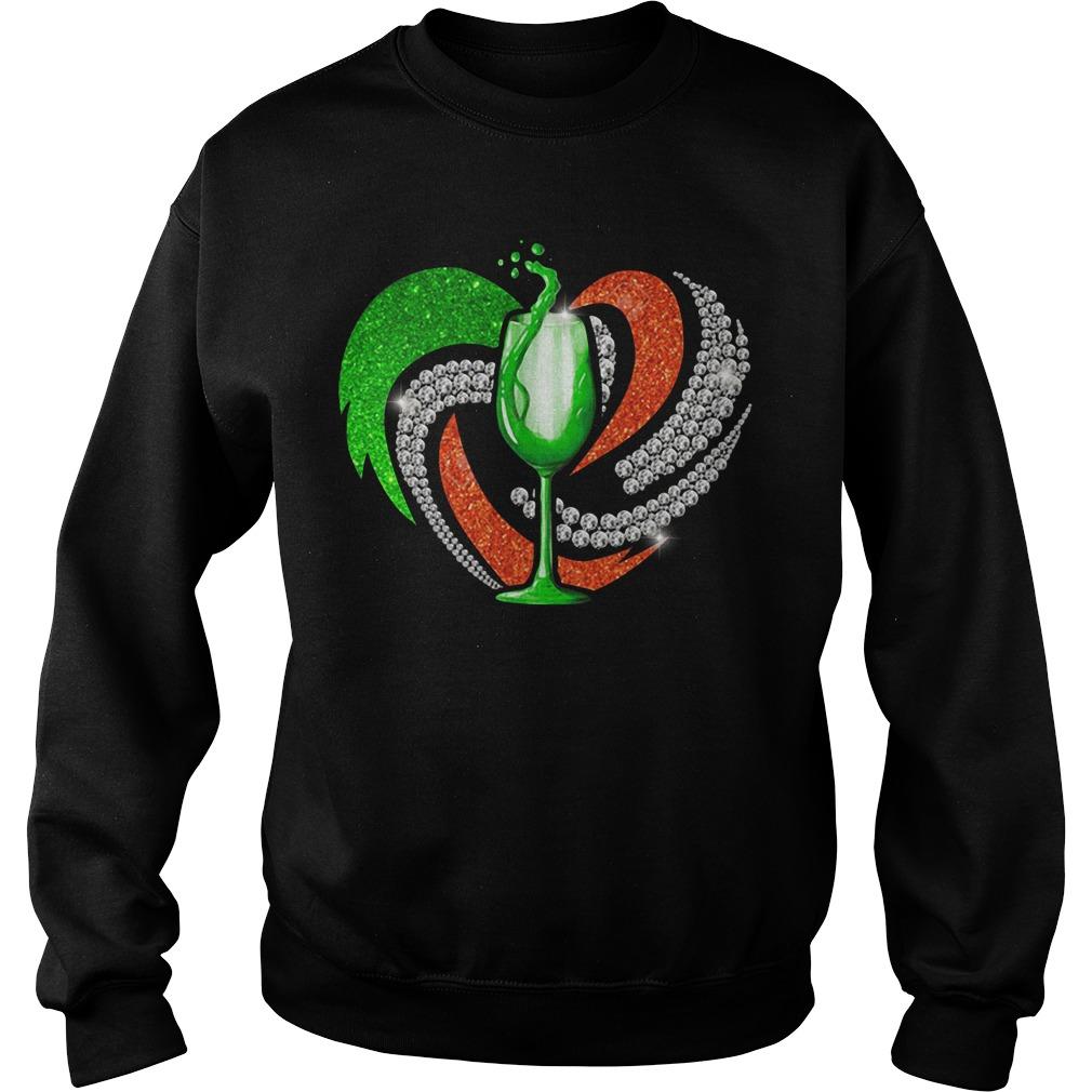 St. Patrick's Day Shamrock Irish Love Wine Heart Bling Sweater