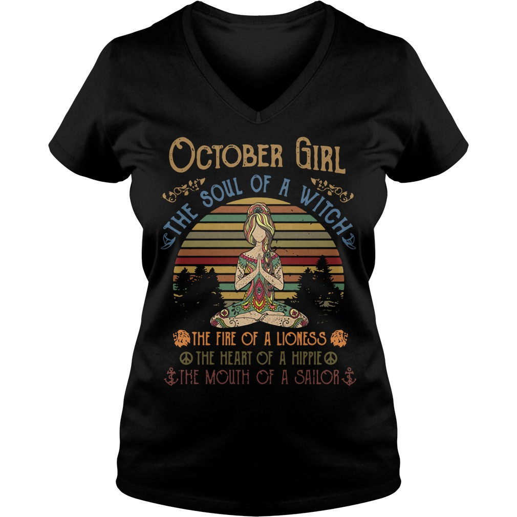 Yoga October Girl The Soul Of A Witch The Fire Of A Lioness Vintage V-neck T-shirt