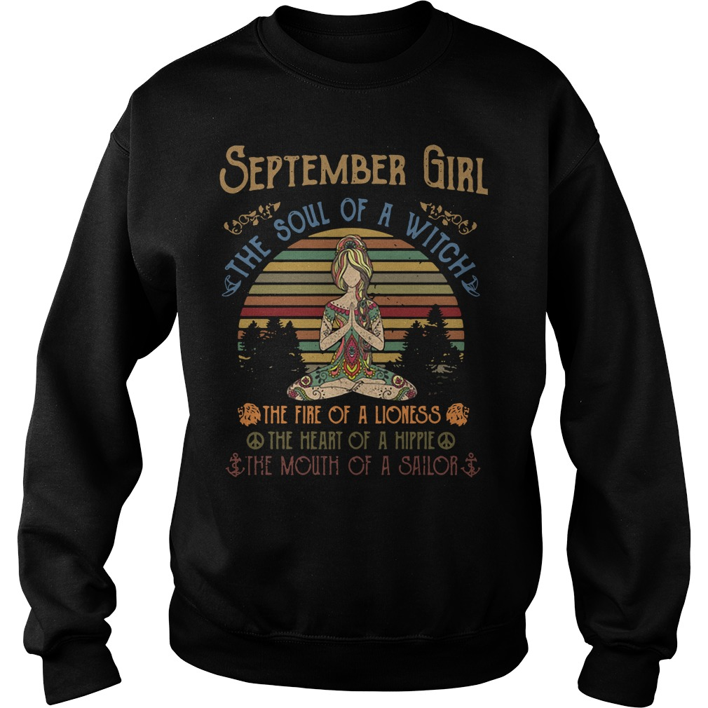 Yoga September Girl The Soul Of A Witch The Fire Of A Lioness Vintage Sweater