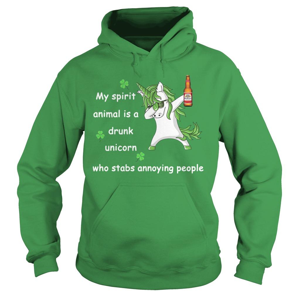 Budweiser My Spirit Animal Is A Drunk Unicorn Who Stabs Annoying People Hoodie
