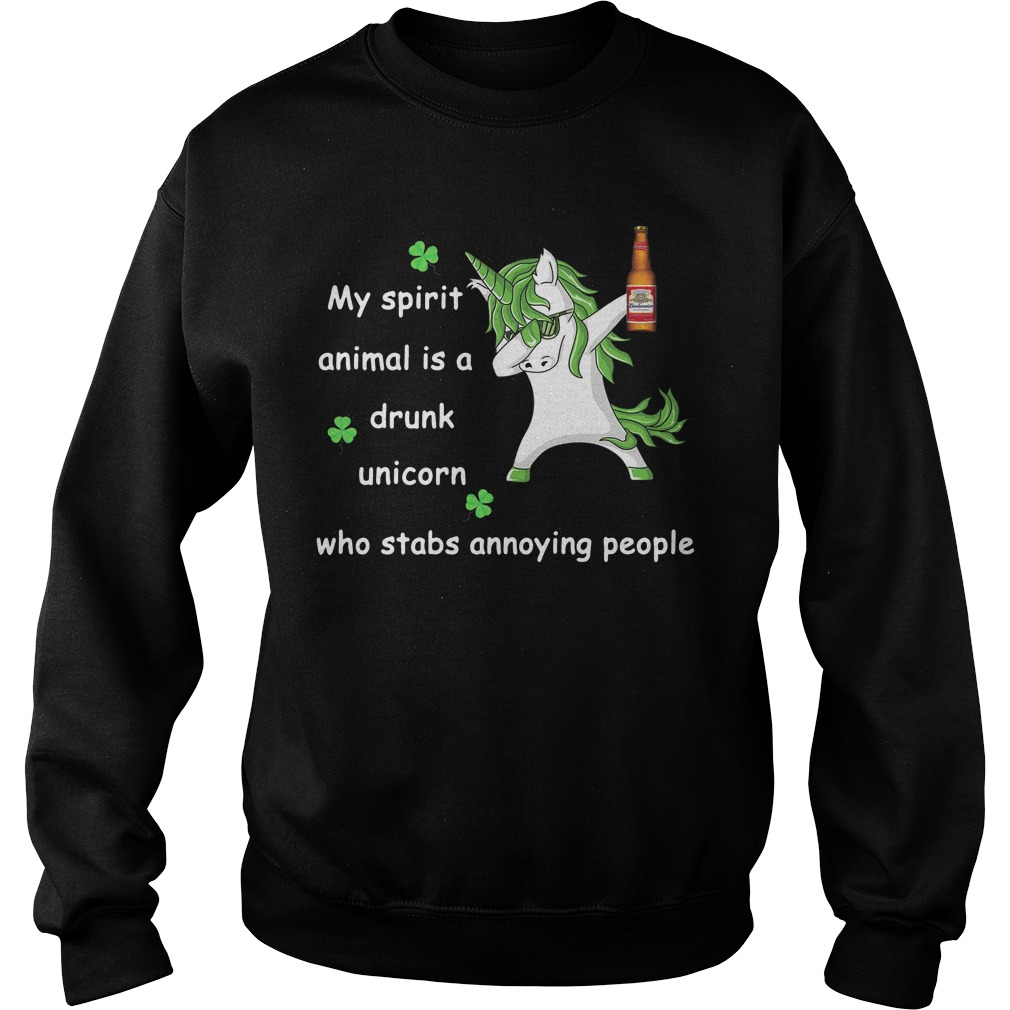 Budweiser My Spirit Animal Is A Drunk Unicorn Who Stabs Annoying People Sweater