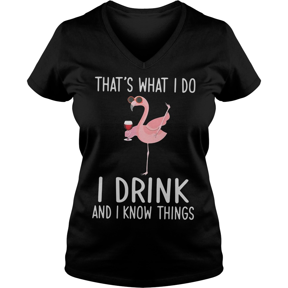 Flamingo That's What I Do I Drink And I Know Things V-neck T-shirt