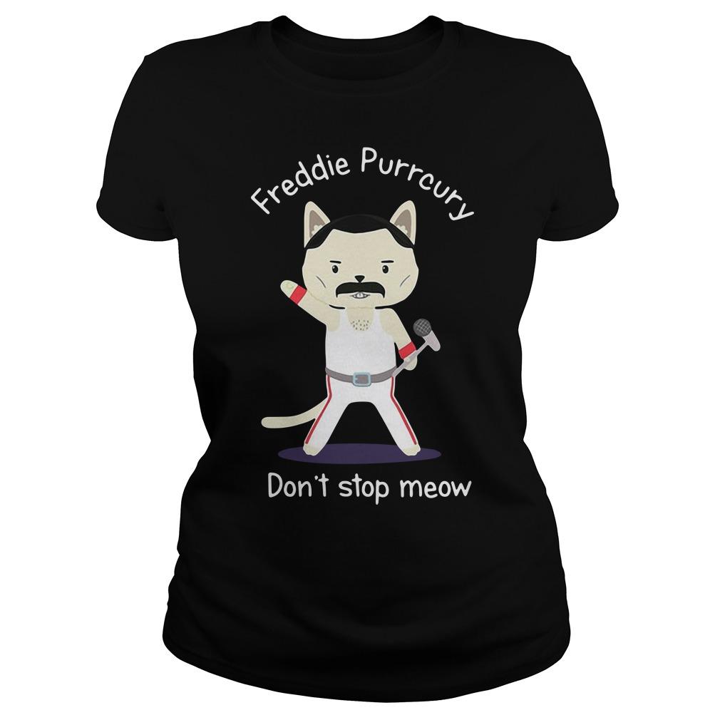 Freddie Purrcury Don't Stop Meow Ladies Tee