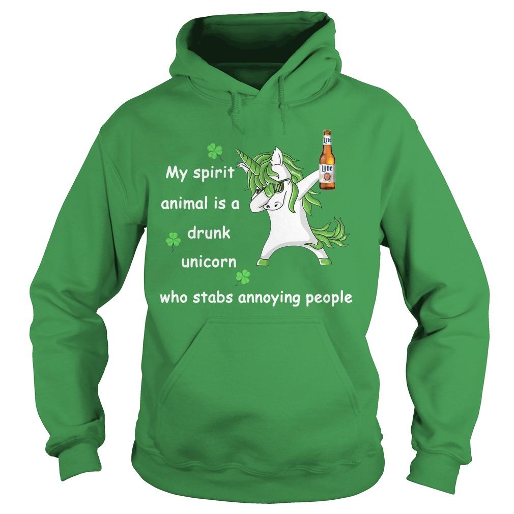 Miller Lite My Spirit Animal Is A Drunk Unicorn Who Stabs Annoying People Hoodie
