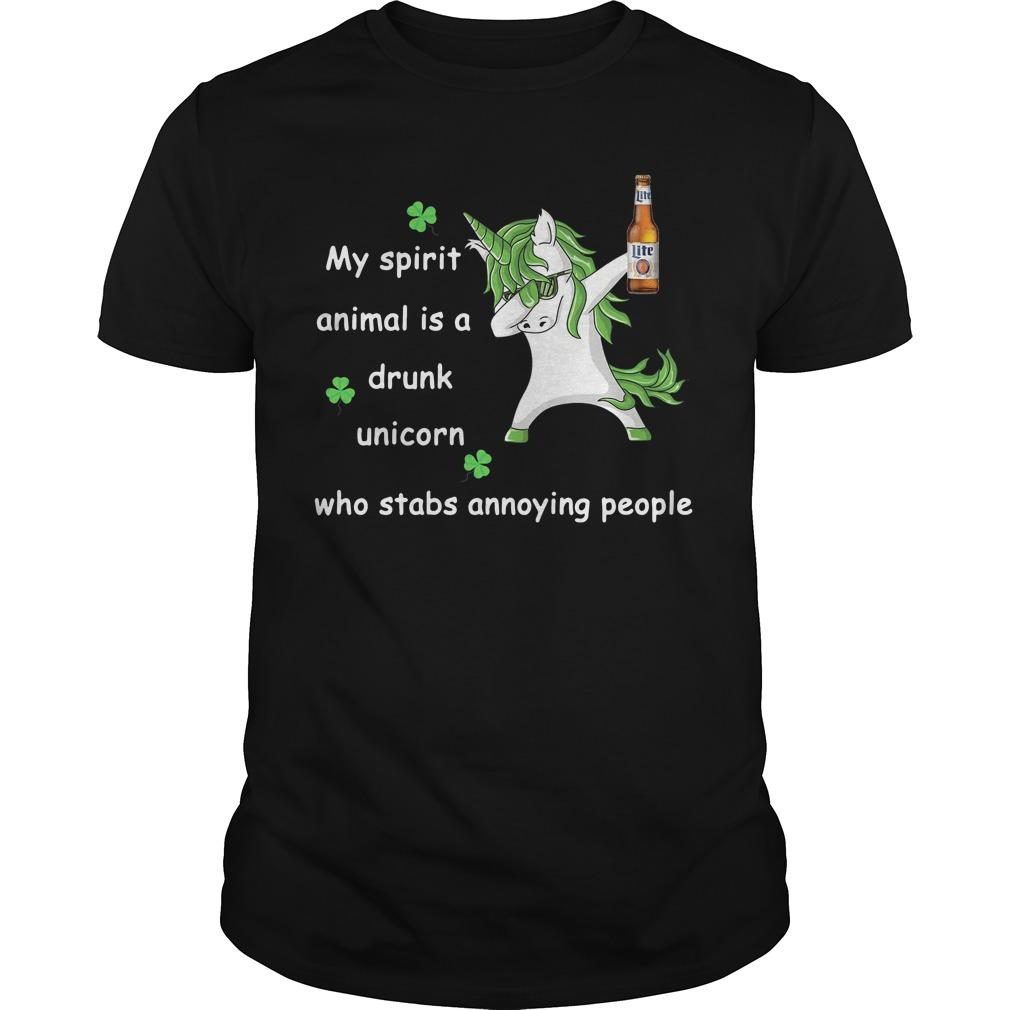 Miller Lite My Spirit Animal Is A Drunk Unicorn Who Stabs Annoying People Guys Shirt