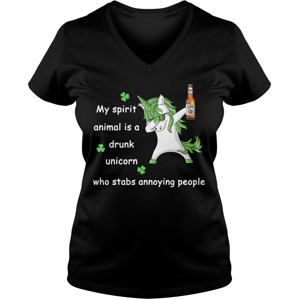 Miller Lite My Spirit Animal Is A Drunk Unicorn Who Stabs Annoying People V-neck T-shirt