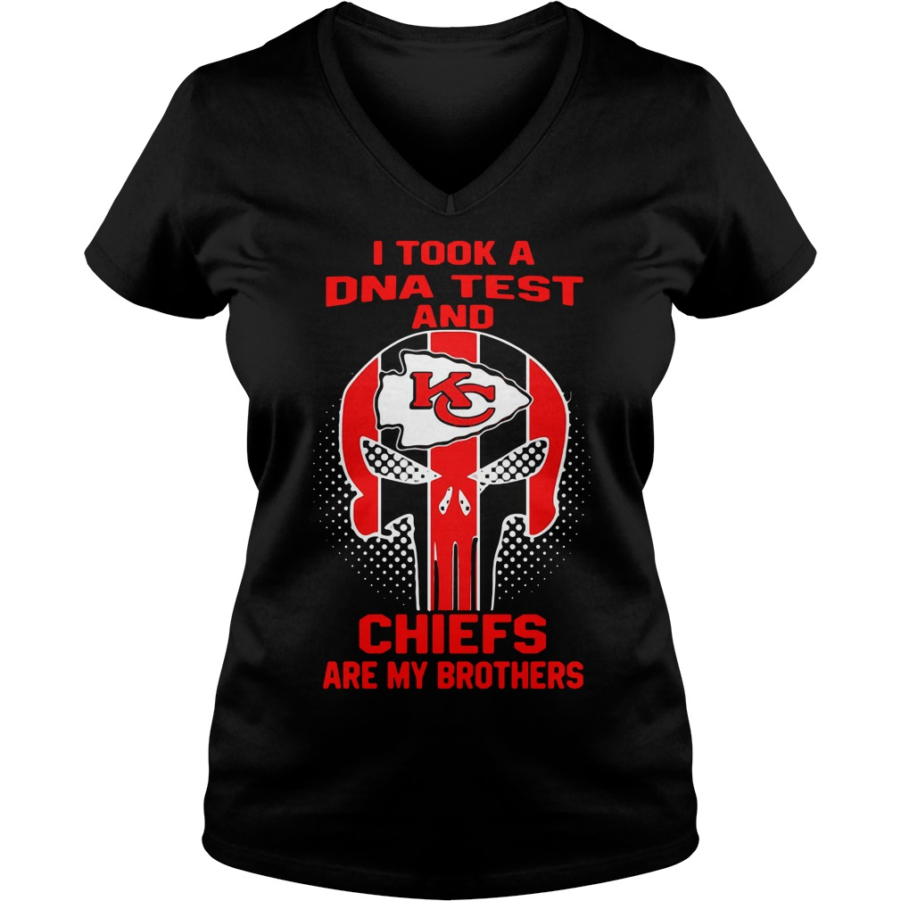 Skull I Took A Dna Test And Kansas City Chiefs Are My Brothers V-neck T-shirt