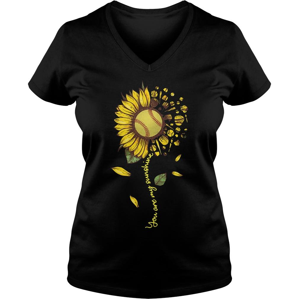 Softball Sunflower You Are My Sunshine V-neck T-shirt