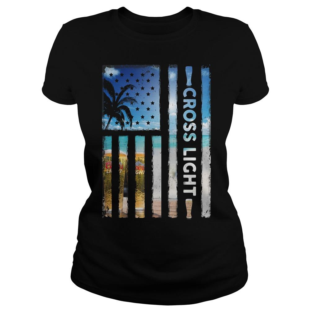 America Flag Cross Light Sunshine Ladies Tee