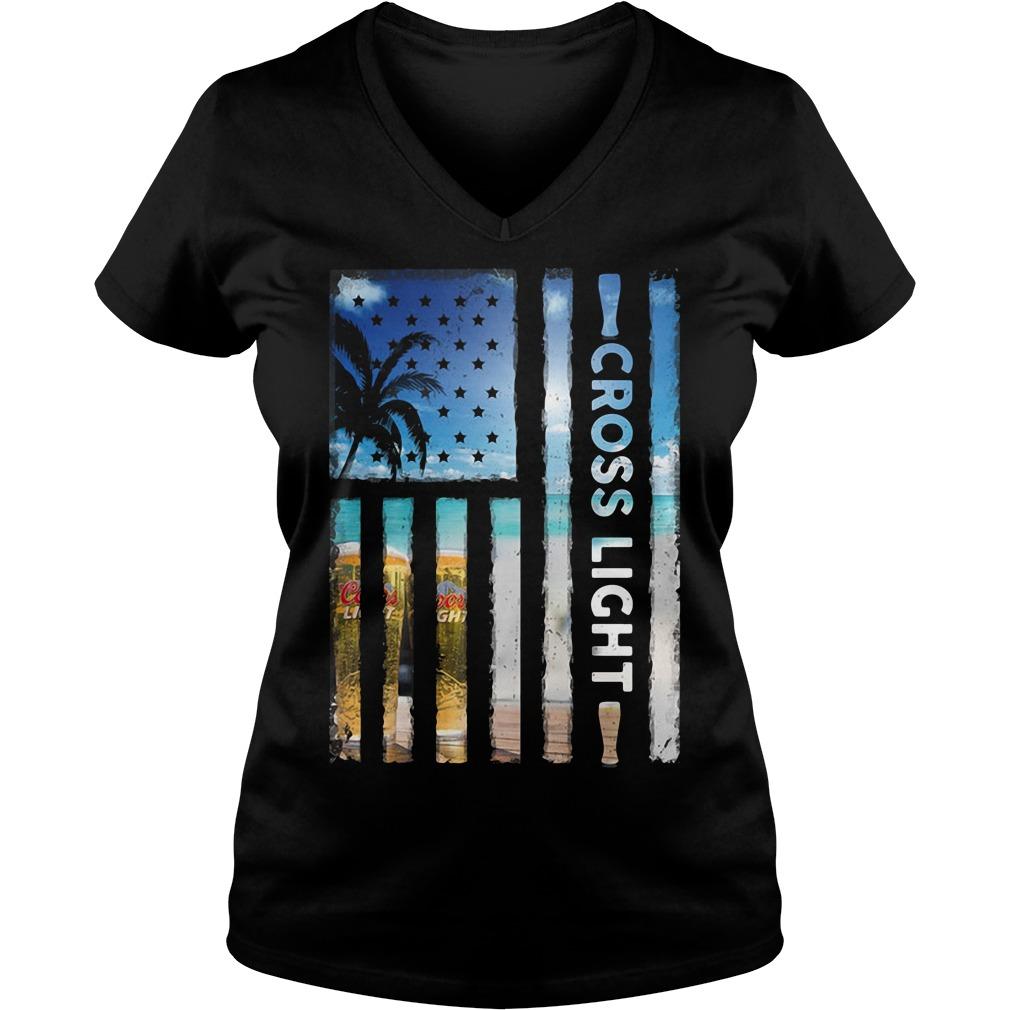 America Flag Cross Light Sunshine V Neck T Shirt