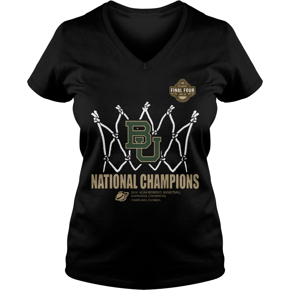 Baylor Lady Bears Final Four National Champions Tampa Bay Florida V-neck T-shirt