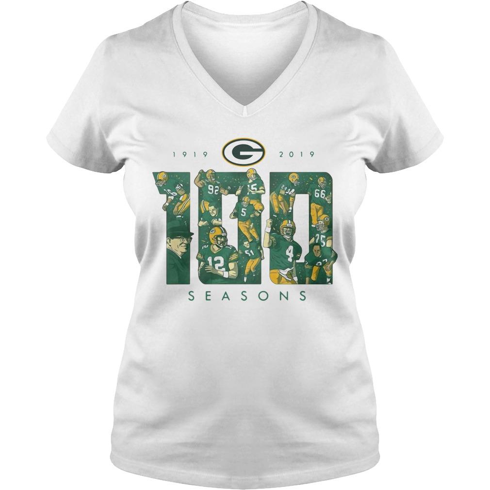 Green Bay Packers 100 Season 1919 2019 V-neck T-shirt