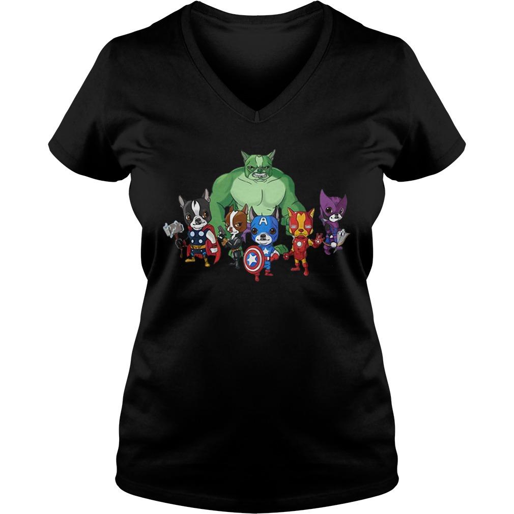 Marvel Avengers Boston Terriervengers V-neck T-shirt