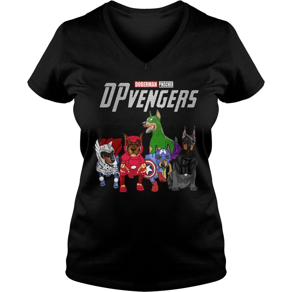 Marvel Avengers Doberman Pinscher Dpvengers V-neck t-shirt
