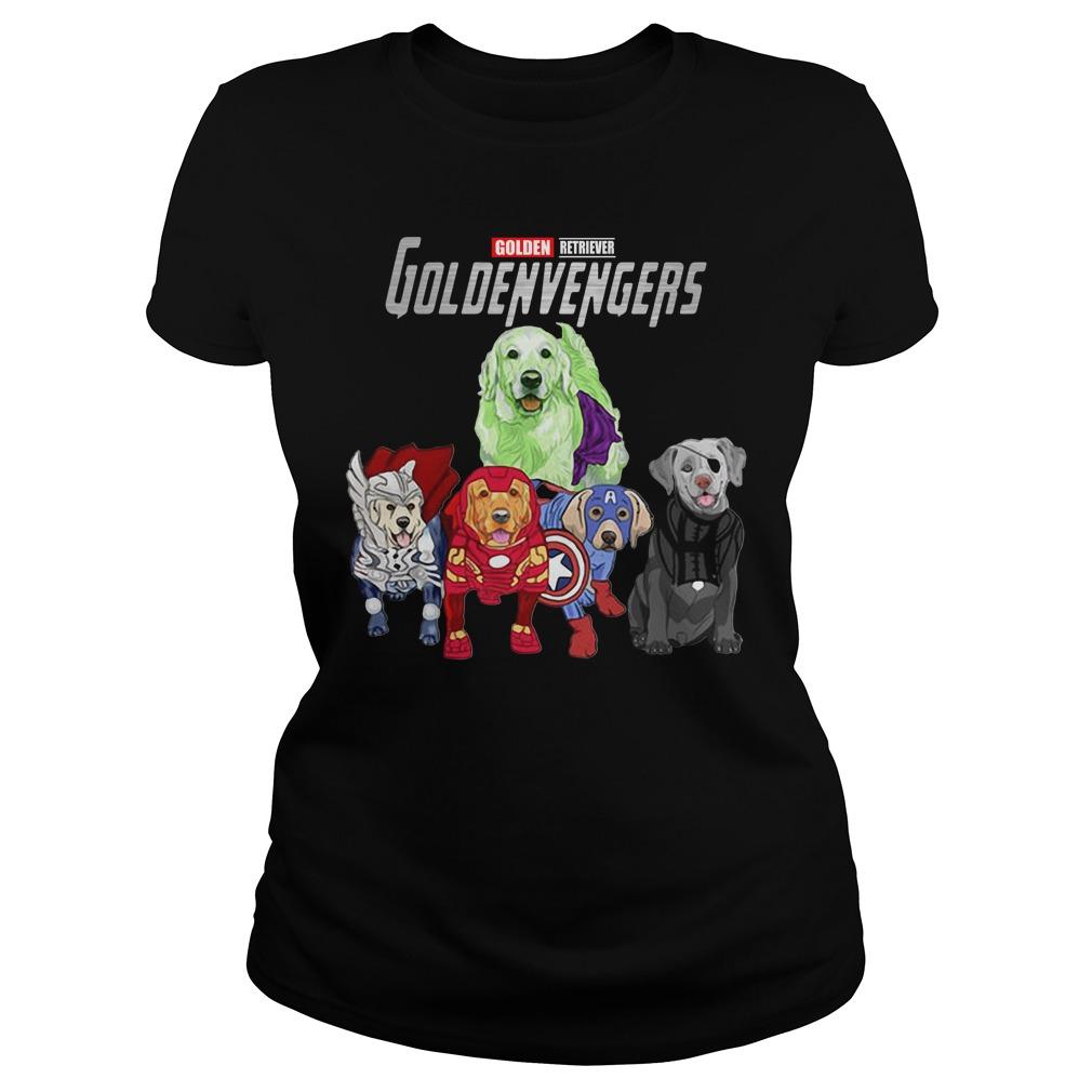 Marvel Avengers Golden Retriever Goldenvengers Ladies Tee